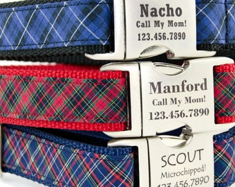 Tartan Plaid Dog Collar, -- Adjustable Collar is Personalized with a Laser Engraved Metal Buckle  -- Perfect for Boy Dog or Girl Dog