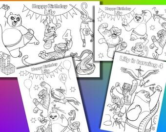 Kung Fu Panda coloring pages, Kung Fu Panda Birthday Party Favor, PDF file