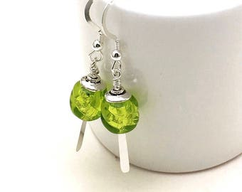Lime Green Murano Glass Sterling Silver Minimalist Drop Earrings  Petite Dangle, for Her Under 50, US Free Shipping Gift Wrap