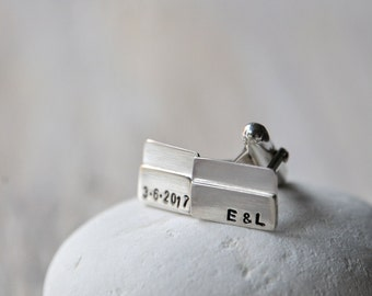 Sterling Silver Cufflinks, Personalized with initials, personalised monograms or symbols