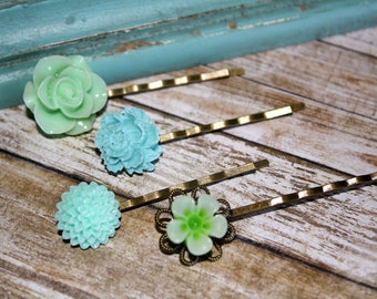 Romantic Floral Hair Pins, Floral Hair Accessories, Flower Cabochon,  Flower Hair Pins, Set of 4 Bobby Pins/clip