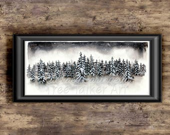 Winter Forest - Snowy Forest Watercolor Painting by Rachael Caringella - Tree Talker Art