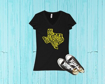 Yellow Rose of Texas T-Shirt//Ladies V-Neck T-Shirt//Yellow Rose// Texas T-Shirt//I Love Texas//Texas T-Shirt//Texas Tee