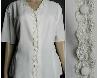 80s 90s CREAM v neck FITTED short sleeved lace blouse U.K. 16 - 17 L