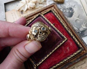 Antique Art Deco Skull Ring, A Talisman for the Alchemist, offered by RusticGypsyCreations