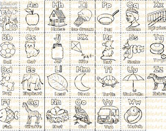 Alphabet Coloring Book Printable Pages Sheets Digital Fun Learning Letters Fo The Alphabets A Z PDF