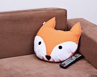 Fox cushion, fox pillow, decorative pillow, gift for her, animal pillow, minky pillow
