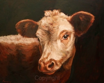Hereford Cow Wall Art-Cow Canvas Art-'Cow Gazing'