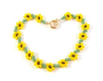 Childrens Sunflower Bracelet, Flower Girls Bracelet, Yellow Flower Bracelet, UK Seller