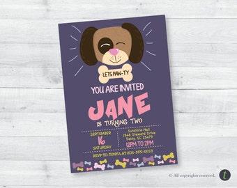 Doggy Birthday Invitation (girl)