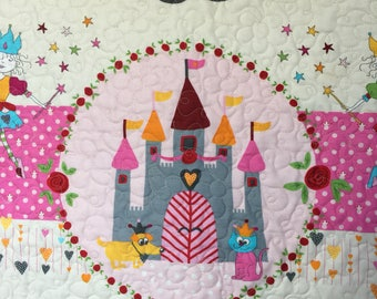 Baby Girl Quilt, Blanket, Princess, Castle, Fairytale, Pink, White, Magenta, Minky, Baby Shower, Crown, Dog, Handmade