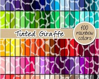 SALE 100 giraffe digital paper safari animal print digital paper rainbow scrapbooking kit pattern printable 12x12 pastel neutral bright dark