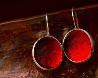 Fire Red earrings, Ruby Red earrings, scarlet red earring, cabochon earrings, glass earrings, silver earrings, pebble  earrings, pastilles