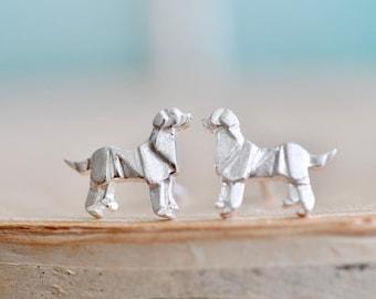 Origami DOG Stud Earrings in Sterling Silver 925, Silver Dog Earrings, Origami Animal Jewelry, Golden Retriever, Labrador Retriever JJ 925