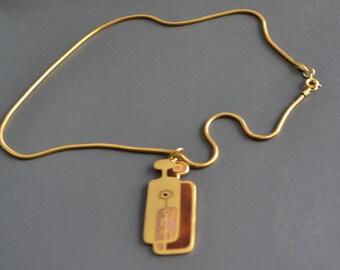 70s MCM  De Passille  Sylvestre Pendant Necklace Enamel  Modernist Jewelry