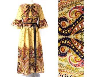 Size 10 Bohemian Dress - Medium - 1970s Gypsy Chic - Boho Paisley Print - Khaki & Plum Purple - Flare Sleeves - Early 70s Deadstock -40782-3