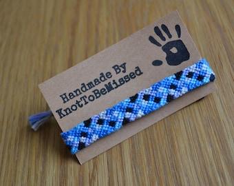 Handmade Ice Checkerboard Friendship Bracelet Blue Black Grey