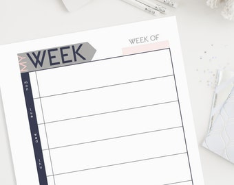 A4 & Letter Weekly Planner Printable - Undated (Audrey Collection)