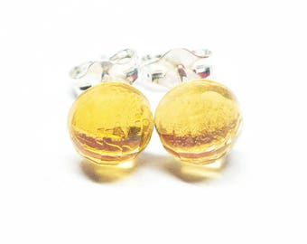 AAA Citrine Gemstone . Small 6mm Round Dome . Sterling Silver Posts Studs Earrings . Yellow Minimalist Earrings . Free Shiping . E16066