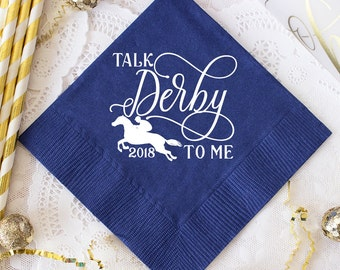 Kentucky Derby Party, Talk Derby to Me Napkins, Run for the Roses Personalized Napkins, Beverage Napkins, Mint Julep, Horse Racing Party
