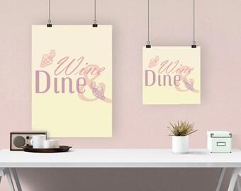 Wine & Dine - Kitchen Decor Poster - Instant Download