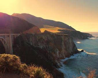 Bixby Bridge, Big Sur, Sunset, Mountains, Central Coast, California