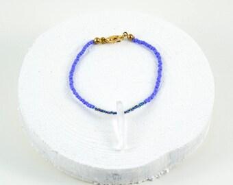 minimalist beaded bracelet with quartz accent