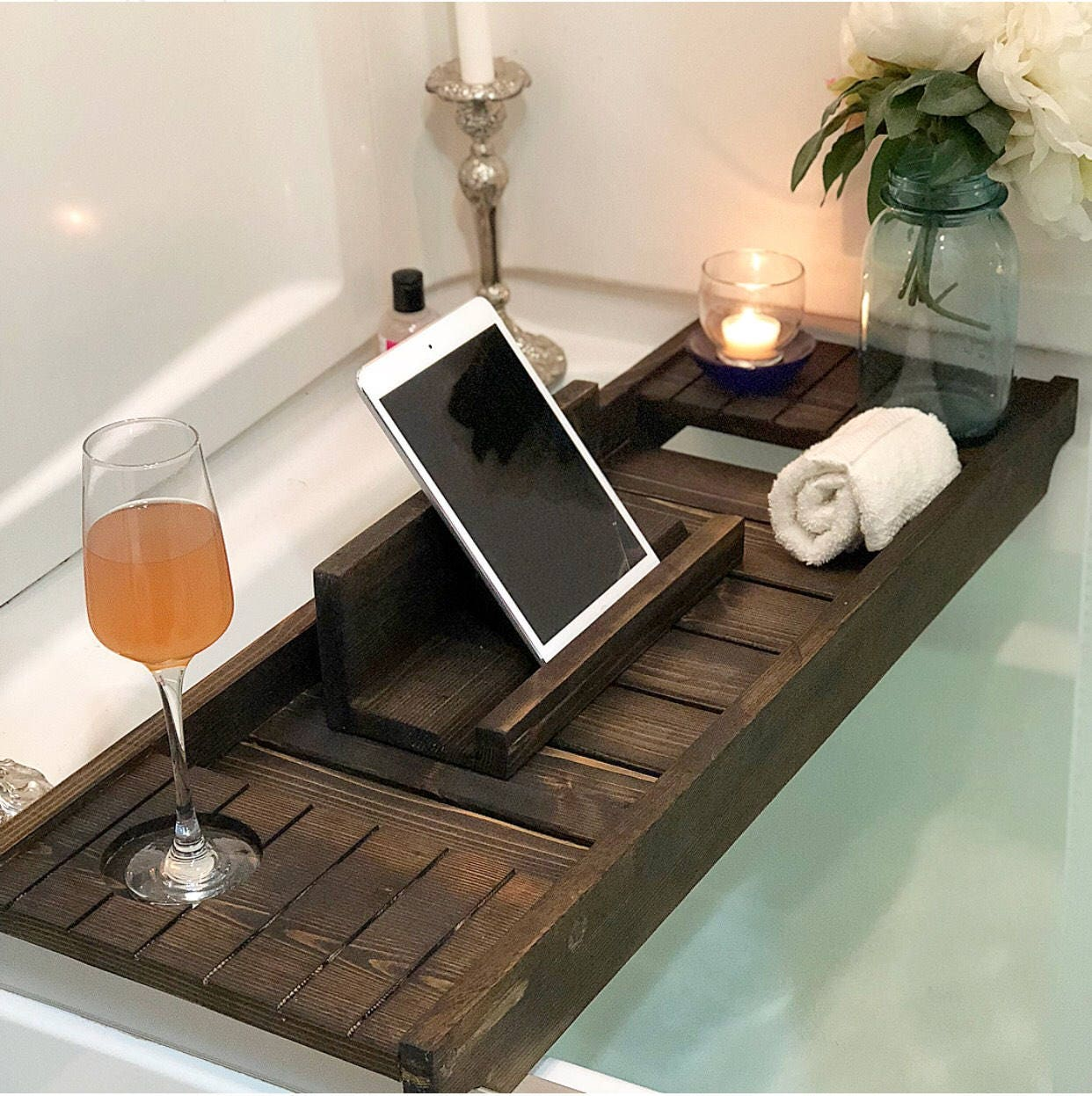 Bath Tray with Wine Holder Bath Caddy Bath Tray with IPad