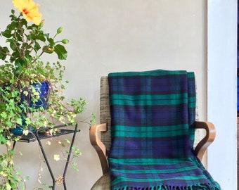 Plaid Merino Wool Blanket Throw Size Fringed Black Watch Plaid w/ Matching Stowing Pillow Case