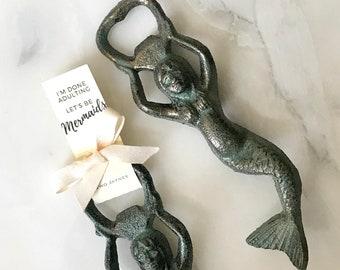 Let's Be MERMAIDS Bottle Opener - cast iron mermaid with Two Jaynes tag