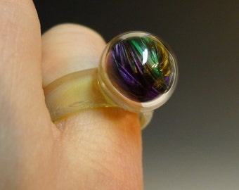 One Blown Bubble with Multi Colored Feathers Glass Ring Hand Sculpted by Jenn Goodale