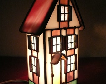 Stained Glass House Accent Lamp, Stained Glass House Night Light