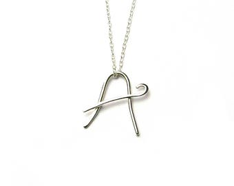 Sterling Silver Initial A Pendant, Silver Letter A Necklace
