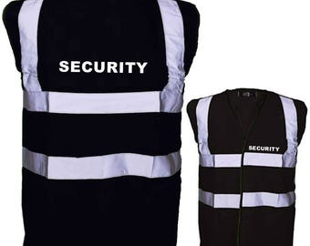 Black SECURITY Hi Visibility Reflective Safety Vest Hi Viz Ideal for Security Personnel Printed SECURITY Front and Back