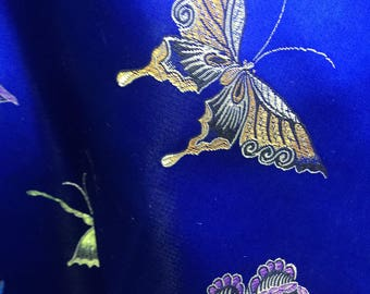 Lia ROYAL BLUE Butterfly Brocade Chinese Satin Fabric by the Yard - 10077