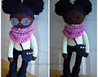 Crochet Doll Pattern, African American Doll Pattern,