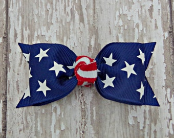 Patriotic Stars and Stripes Tuxedo Style Toddler Hair Bow 3 Inch Alligator Clip Baby Hairbow July 4th