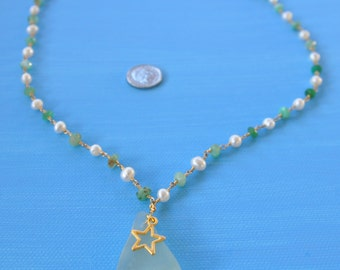 SALE! Star Pendant Necklace Made With Scottish Seafoam Seaglass - 23 Inch Gold Plated Green Chrysoprase & Freshwater Pearl Gemstone Chain