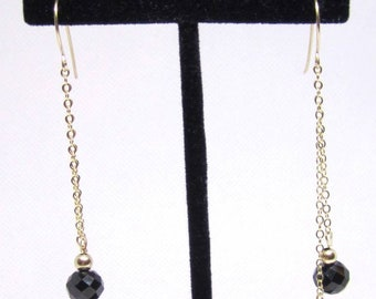 Mother's Day gift, Spinel earrings, 14k gold filled gemstone earrings, Black Spinel earrings, gold filled earrings, gemstone beads earrings,