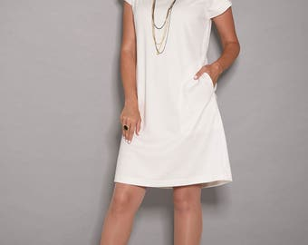 White dress, short dress, loose dresses, party dresses for women, midi dress, womens dresses,summer dresses, dress with pockets, work dress