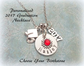Personalized 2017 Graduation Gift, Handstamped Graduation Necklace, Graduation Gift for Daughter, Granddaughter Gift, High School Graduate