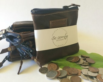 Upcycled Leather Card & Coin Pouch, Brown Roots Leather, Ready to Ship