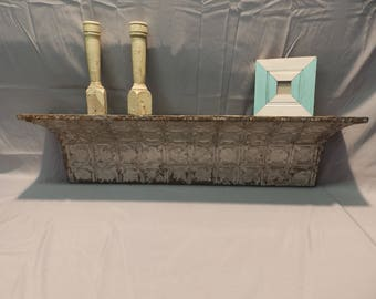3 Ft Repurposed Antique Tin Ceiling Wall Shelf / Ledge Mantle Shabby Recycled Chic Silver 9x35 308-17P