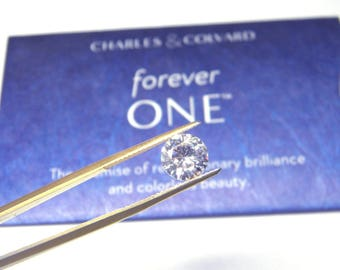 Forever One Moissanite 9.5 mm  round 3 carat Jewel Charles and Colvard colorless D E F