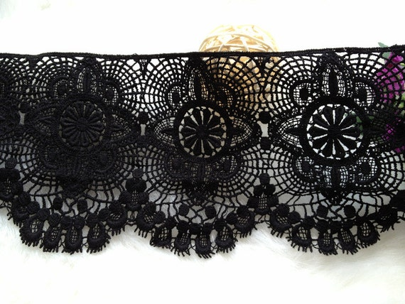 Black Lace Trim Cotton Embroidery Lace Hollow out Lace Trim 4.33 Inches  Wide 2 Yards from lacelindsay on Etsy Studio