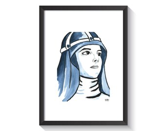 Saint Bridget of Sweden Original Watercolor Print