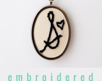 Valentines day Gift for Mom, Embroidered Initial Necklace. Personalized Jewelry. Customizable Gift. Stitched Monogram Pendant. Embroidered