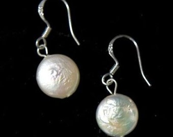 925 Sterling Silver 13-14mm White Coin Pearl Earrings