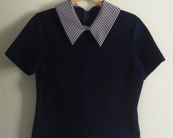 70s vintage navy blue and white striped collared shirt