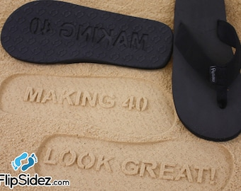 Custom Birthday Flip Flops -  Design Your Own Personalized Sand Imprint Sandals *check size chart, see 3rd product photo*